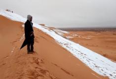 Imagens mostram neve no deserto do Saara