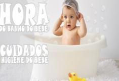 Hora do banho do bebê. Cuidados de Higiene do bebê