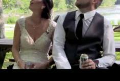 Noivos escapam por um triz de queda de galho durante festa de casamento