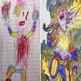 Pai transforma os desenhos dos filhos em personagens de animes