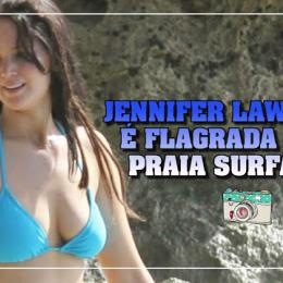 Jennifer Lawrence é flagrada surfando e quase mostra demais