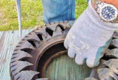 Como cortar um pneu usado para reciclar