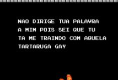 Aquele dialogo entre o Mario e a Peach