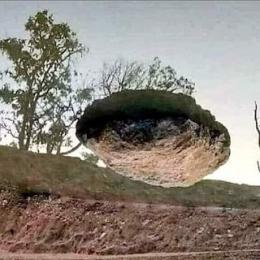 Pedra flutuante ponto de vista