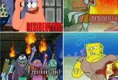 Desenho do Resident evil com Bob esponja