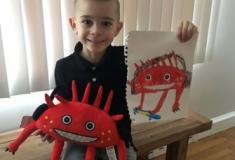Desenhos de crianças que viraram bichos de pelúcia