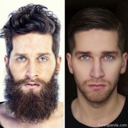 Eles realmente não parecem as mesmas pessoas sem suas barbas.