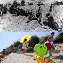 Antes e agora nos locais do ataque do Dia D