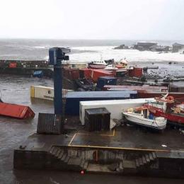 Furacão Lorenzo destruiu o Porto das Lages, Açores