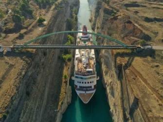 "MS ""Braemar"" torna-se o maior navio a transitar o Canal de Corinto"