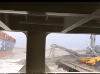 """Porta contentores """"Mexico City"""" derruba pórtico no porto de Antuérpia"""