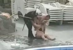 Mulher é presa após se recusar a sair de piscina