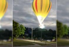 Veja o momento exato em que balão atinge rede de alta tensão