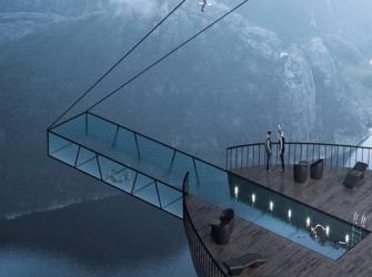 Hotel na Noruega terá piscina de vidro a 600 metros de altura