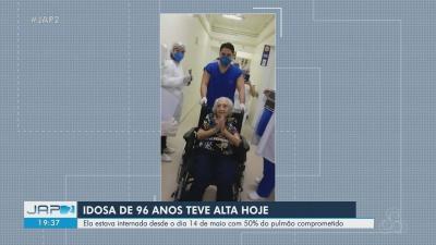 Idosa de 96 anos vence luta contra a Covid-19 no AP após ter 50% do pulmão comprometido