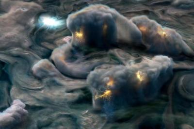 Misteriosos raios são captados na atmosfera de Júpiter