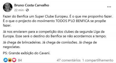 """Candidato da oposição no Benfica ironiza após eliminação: """"Grande exibição do Cavani"""""""