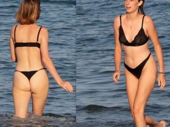 A atriz Maya Hawke é flagrada de lingerie curtindo um dia de praia