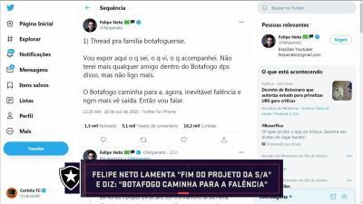 """Felipe Neto explica desabafo e lamenta situação do Botafogo: """"Tomara que haja tempo, mas acho difícil"""""""