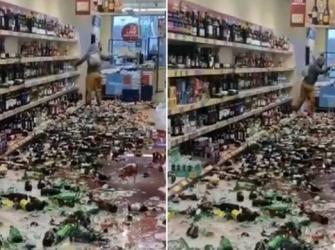 Mulher destrói 500 garrafas de bebida em supermercado